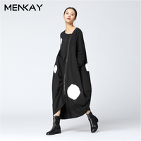 MENKAY 2018 Spring Spotted Print Long Sleeve Asymmetric Loose Long Trench Coat Women Dresses Zipper