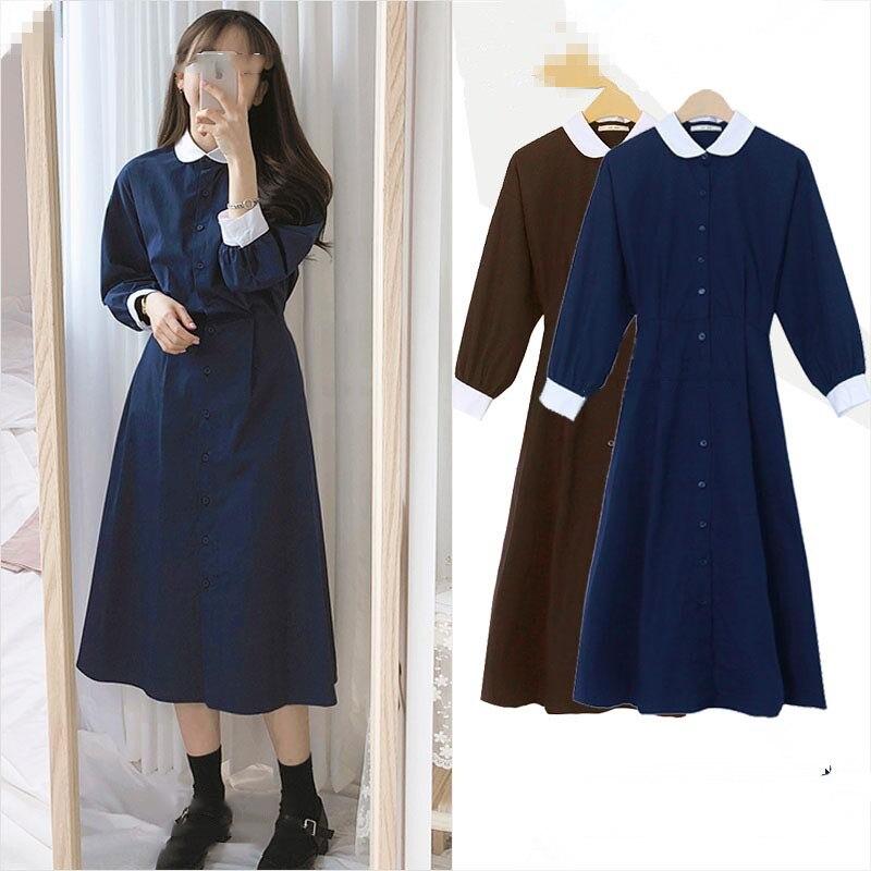 2019 autumn vintage peter pan collar shirt long sleeved dress women slim waist patchwork a line dress