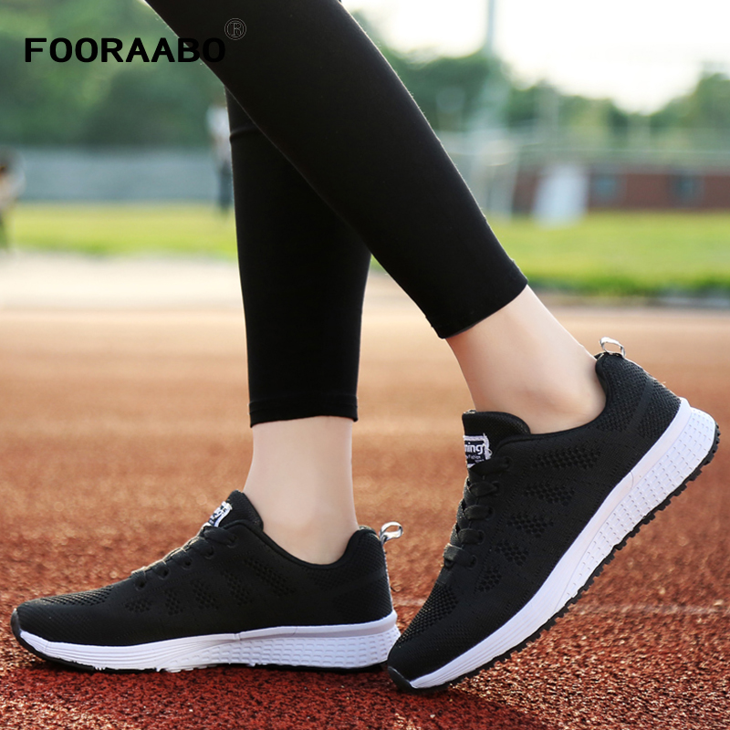 FOORAABO 2017 New Fashion Women Shoes Casual Summer Breathable Mesh Flat Female Platform Woman Shoes Black White Chaussure Femme