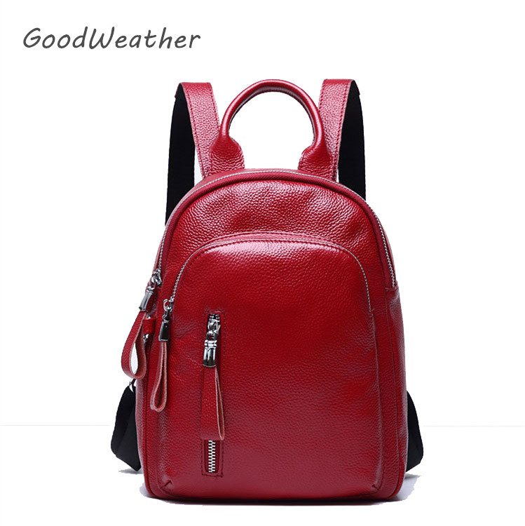 High quality soft red genuine leather backpack women fashion female backpacks for travel designer shoulder bag 3colors ryugzaki  цена
