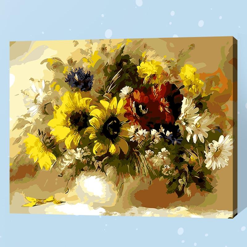 Frameless Canvas Art Oil Painting Flower Painting Design: Frameless Daisy Flower Diy Digital Painting By Number