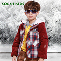 SOGNI KIDS Cotton Plaid Jackets Faux Fur Hooded Coats Toddler Boys Single Breasted Clothing Winter Thick Zipper Outwears