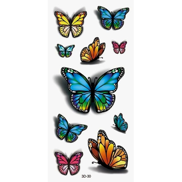 2PCS Inspire Colorful 3D Tattoo Sticker On Body Art Stickers Glitter Temporary Tattoos Removal Fake Tattoo Sleeve