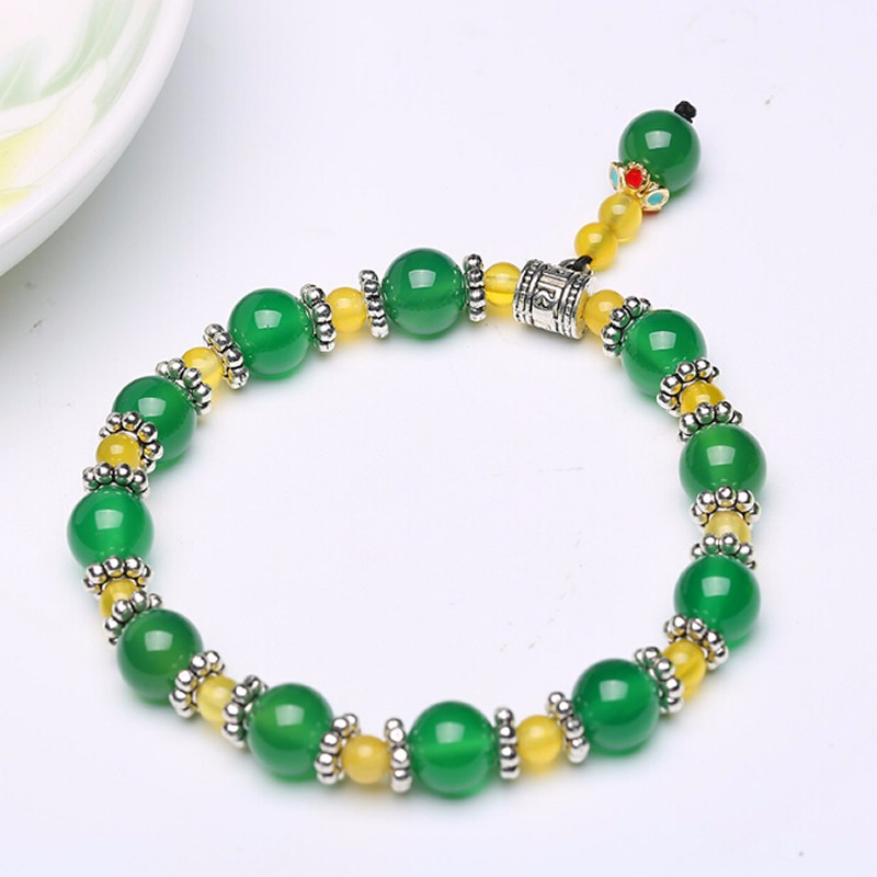 100% Natural Yellow / Jadeite Beads Elastic Line Bracelet With certificate new