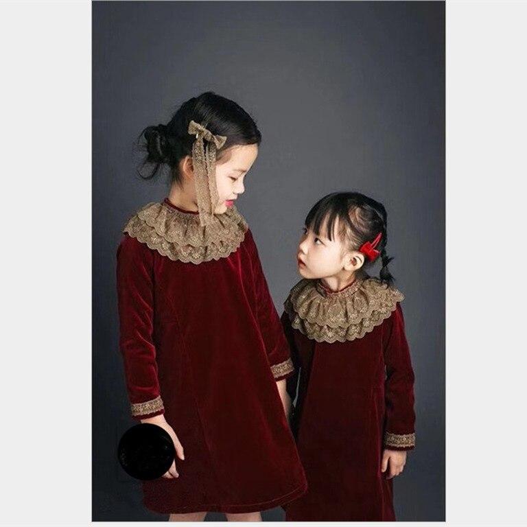 2 8Y Girl Autumn Winter Thicken Velvet Lace Long sleeve Vintage Spanish Dress Elegant Wine Wedding