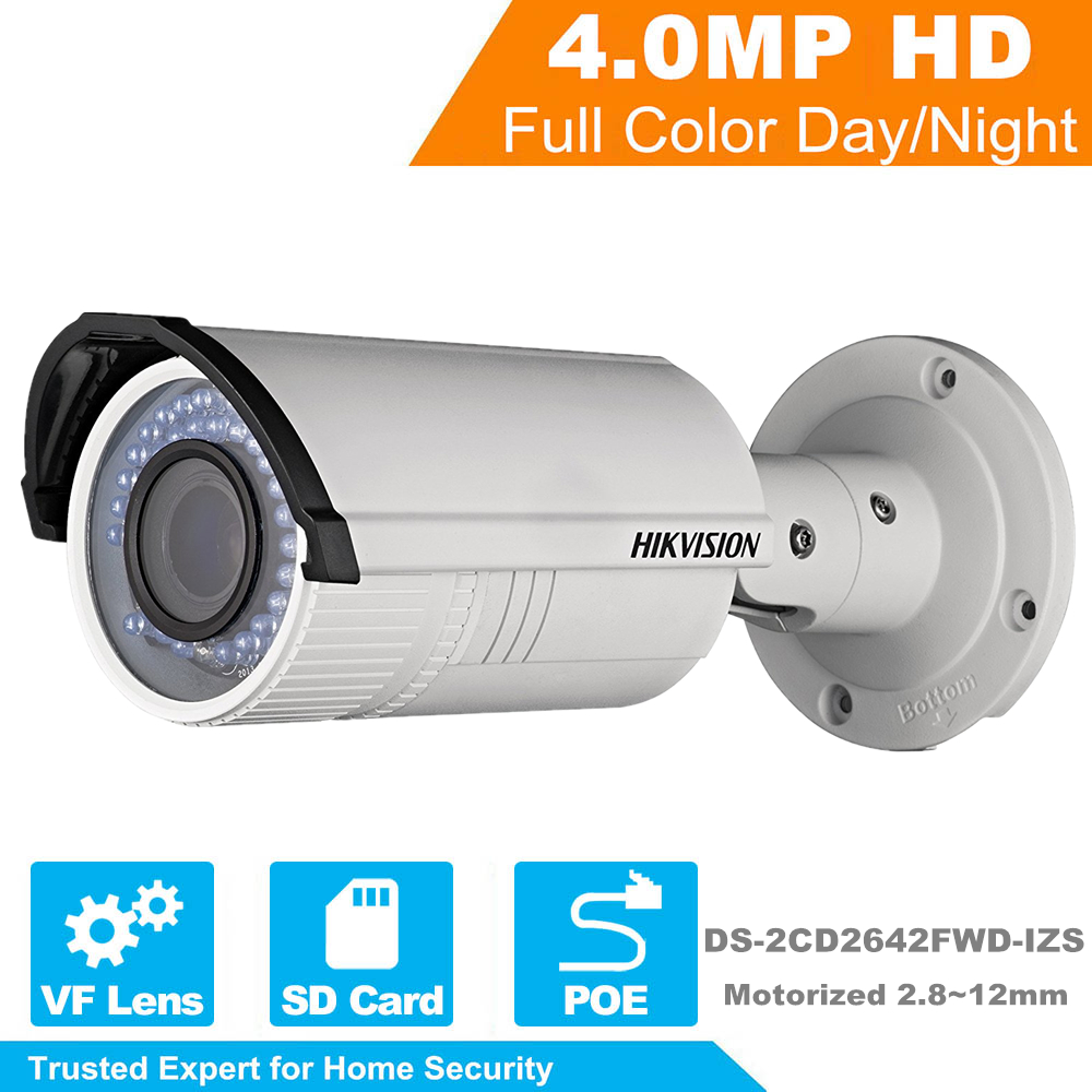 HIKVISION HD Security IP Camera DS-2CD2642FWD-IZS 4MP 1080P Real Time Video IR Bullet CCTV Camera Motorized Vari-Focal 2.8~12mm видеокамера ip hikvision ds 2cd2642fwd izs цветная