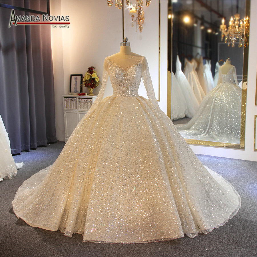 AMANDA NOVIAS ball gown wedding dress 2019 sparkling shinny