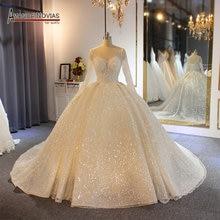 ball gown wedding dress 2020 sparkling shinny bridal dress