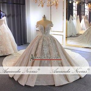 Image 2 - 럭셔리 구슬 웨딩 드레스 어깨 긴 기차 2020 새로운 신부 드레스 novias