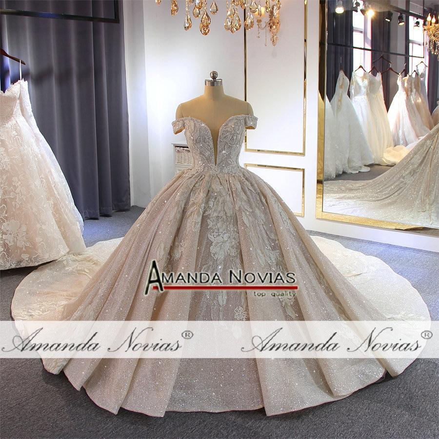 Image 2 - Luxury beading wedding dress Off Shoulder Long Train 2019 New bridal dress novias-in Wedding Dresses from Weddings & Events