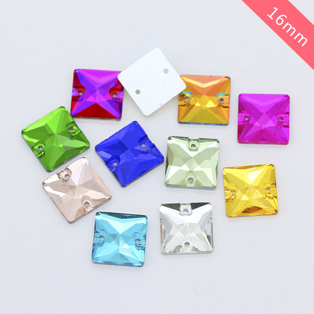 24p 16mm square Flatback sewing Glass stone sew on Faceted crystal  rhinestones 2-Holes Gems for shoes 3ca8d607decd