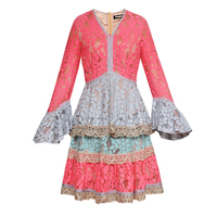 High Quality European Style Women S Sweet Colorful Patchwork Princess Wind Lace 2018 Spring And Summer