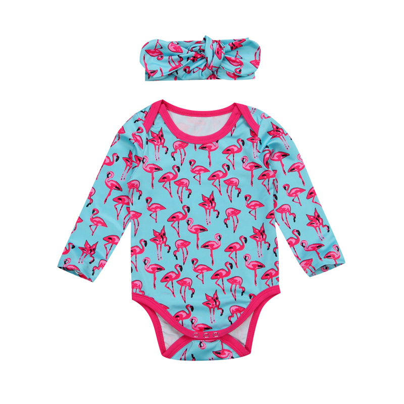 2Pcs/Set Baby Girls Flamingo Romper+Heanband 2017 New Bebes Fall Jumpsuit Long Sleeve Body Suit For Newborns Hot Sunsuit Clothes
