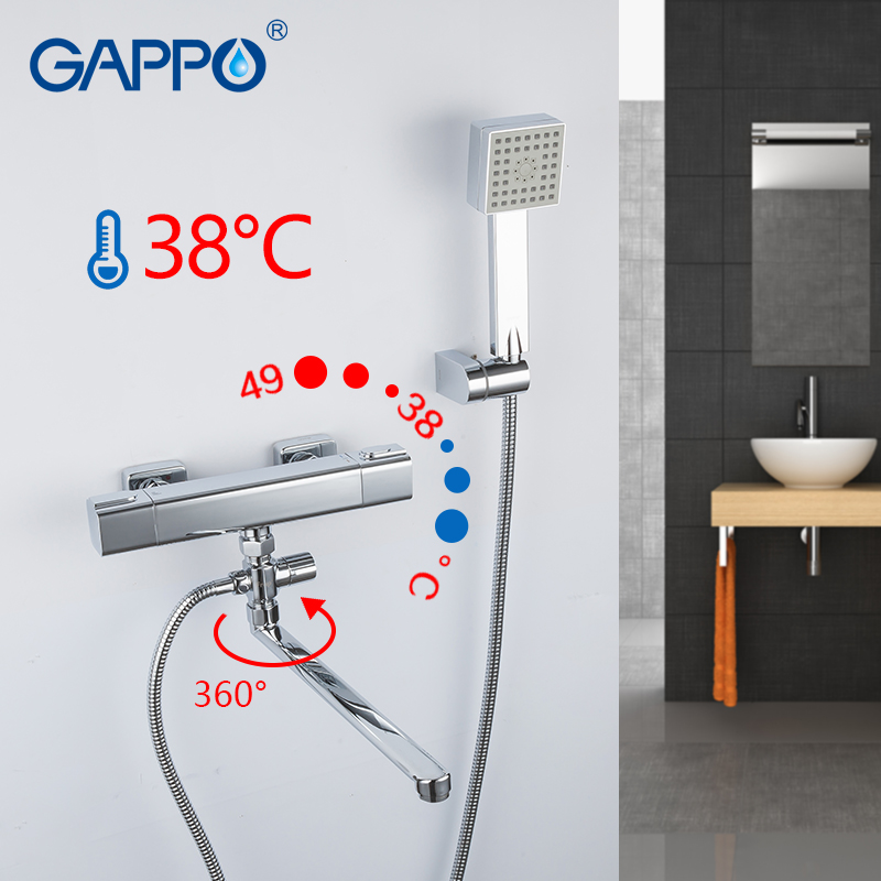 купить GAPPO Shower Faucet chrome bathroom shower wall mounted thermostatic mixer bathtub faucets brass bath taps shower mixer griferia недорого