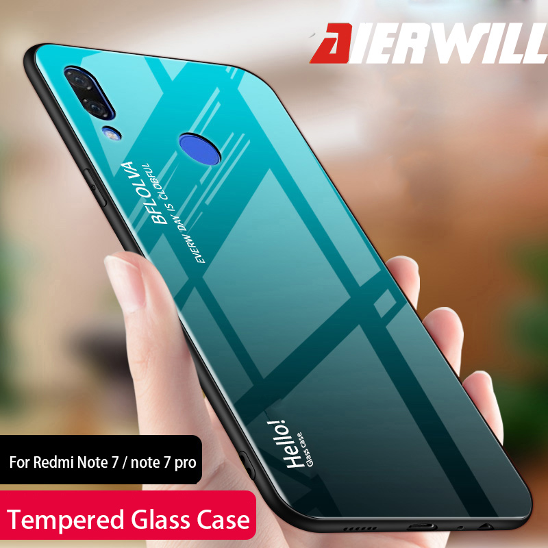 Luxury Glass Case For Xiaomi Redmi note 7 Case 9H Tempered Glass Silicone Cover Hybrid Back Cover For Redmi note 7 pro Cases redmi note 7 pro cover