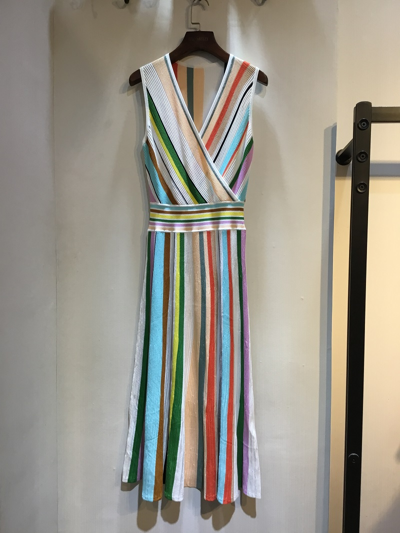 2019 Модное Новое Платье женское цветное Полосатое платье без рукавов DCaress