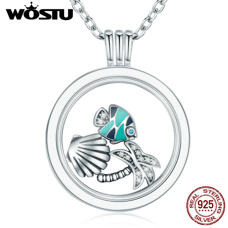 Hot Sale 100% 925 Sterling Silver Floating Medium Pendant Necklaces Fit 7 Style Petite Charms For Women DIY Jewelry CRF001