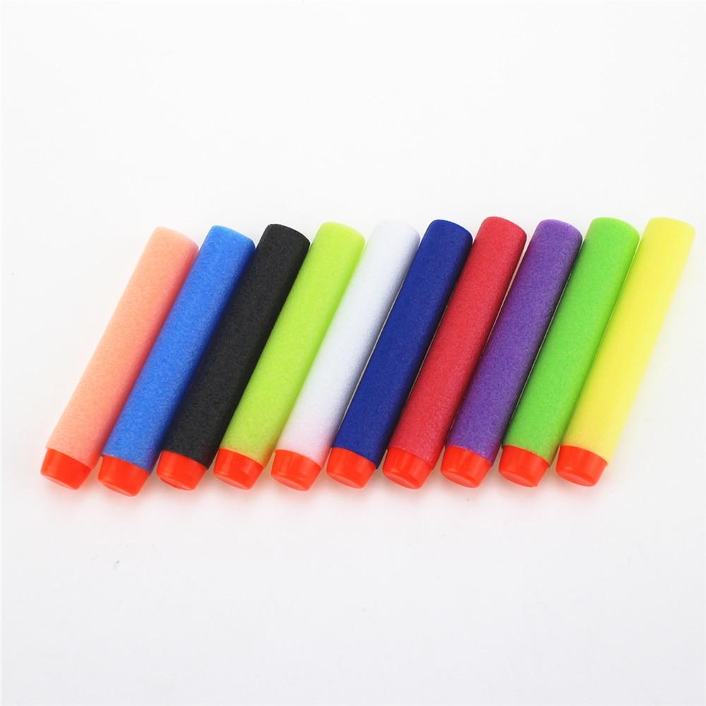 100 pcs/set 10 Colour Dart Refills Universal Standard hard Head Hollow Foam Bullets for Nerf Toy Gun Fluorescence