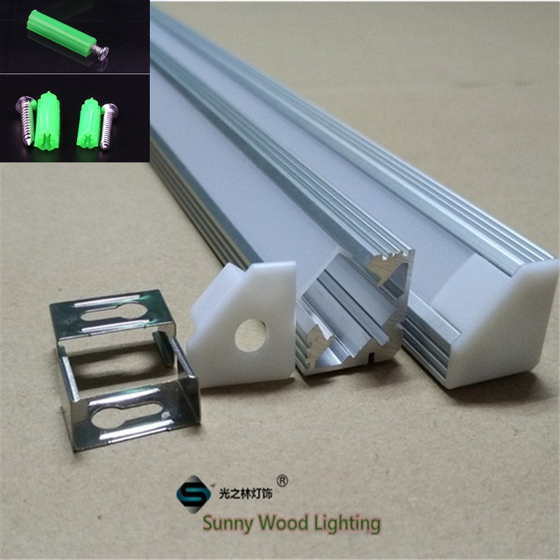 5-30pcs/lot corner led channel cable hidden , led aluminium profile for 11mm PCB board led bar light,45 degree strip housing free shipping factory price aluminum profile for led strip milky transparent cover for 12mm pcb with fittings 1m pcs