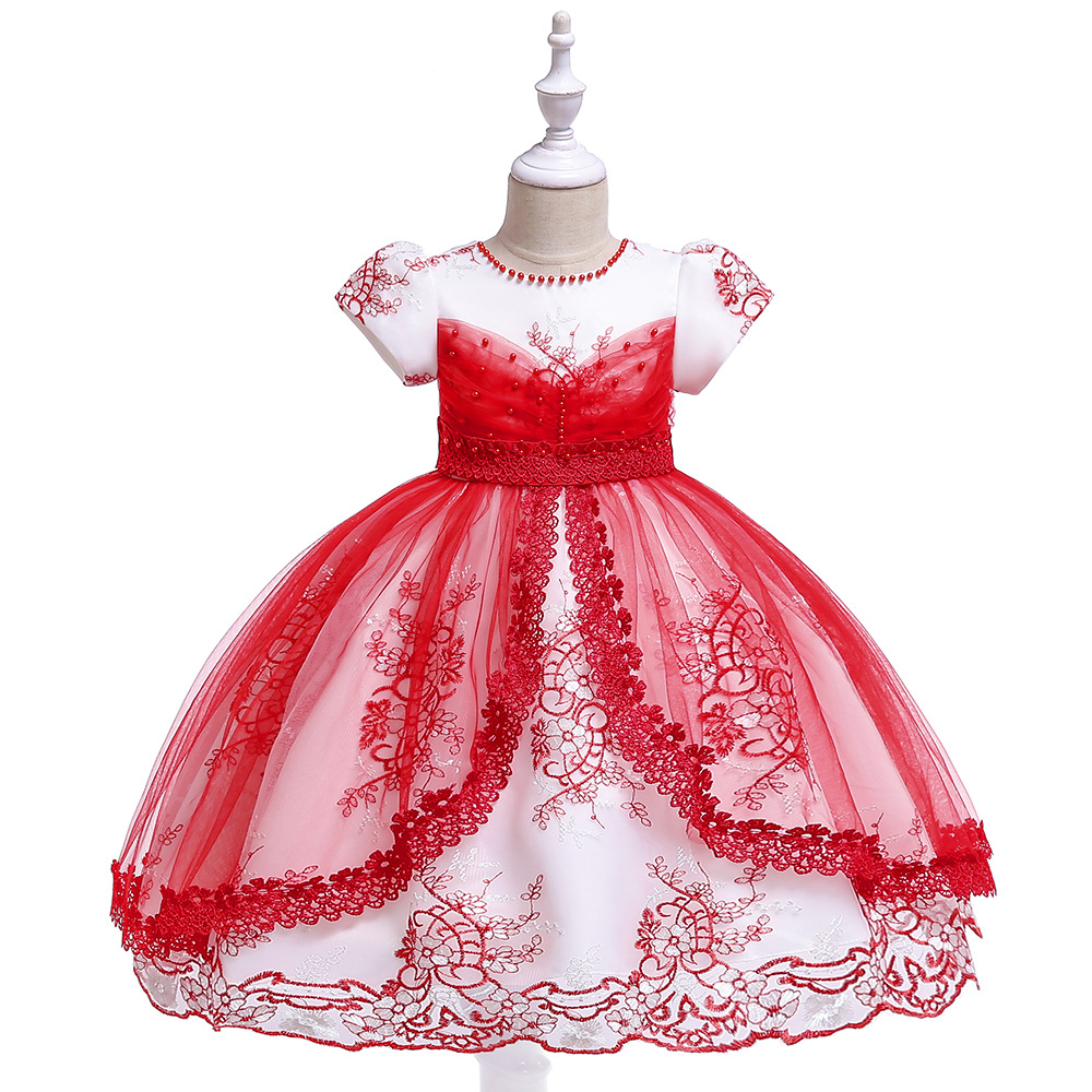 New Ballgwon Red   Flower     Girl     Dresses   For Wedding Tulle Lace Appliques Evening Party   Dress   with Pearls Tutu   Dresses   2019
