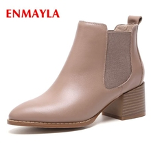 ENMAYLA  Pointed Toe Basic Slip-On Ankle Boots Women Shoes Botas Mujer Invierno Size34-40 ZYL1615