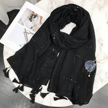 Women Fashion Plain Sequin Tassel Viscose Shawl Scarf 2018 Brand New Design Long Korean Solid Scarves Wrap Muslim Hijab Snood(China)