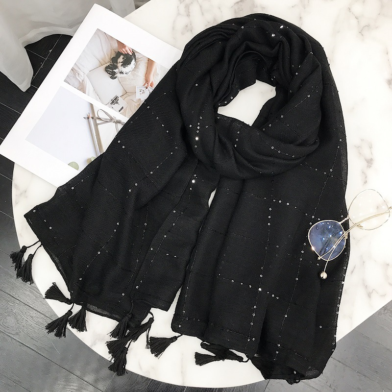 Women Fashion Plain Sequin Tassel Viscose Shawl   Scarf   2019 Brand New Design Long Korean Solid   Scarves     Wrap   Muslim Hijab Snood