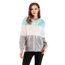 Fashion Long Sleeve Hooded Hoodies Women Splicing Zip Up Female 2018 Autumn Casual Coats Zipper