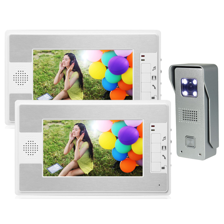 7 LCD Monitor Video Door Phone Intercom Doorbell System Home Security Intercom Kits IR Camera Door bell Intercom Doorphone 1V2