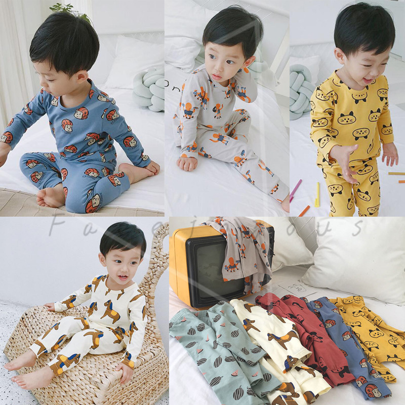 6 Colors Toddler Baby Boys Girls Pyjamas Cartoon Print Pajamas Set Child Nightwear Long Sleeve T Shirt + Pants Kids Sleepwear print t shirt pants