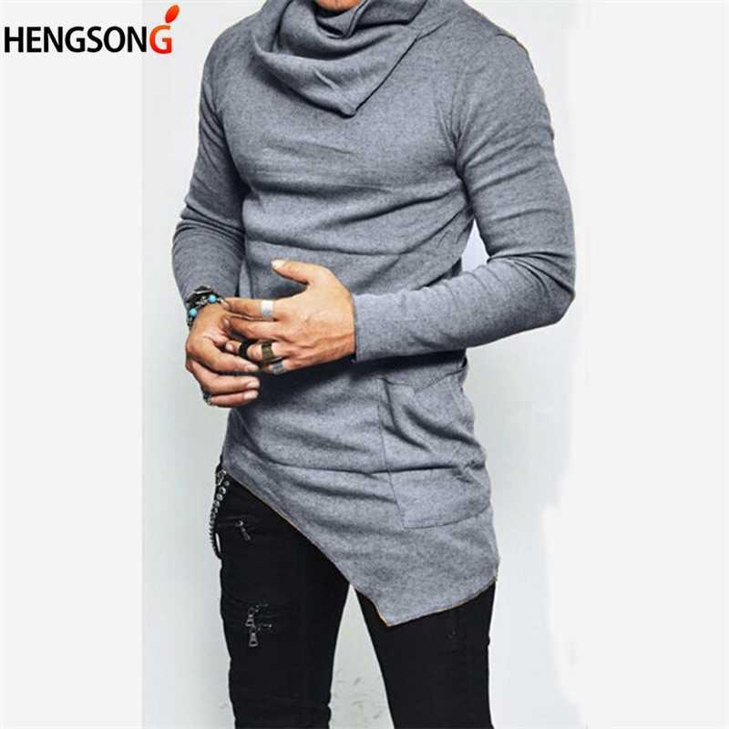 2018 erkekler moda uzun kollu düzensiz Hoodies erkekler bahar balıkçı yaka Hoodies düz ince kazak kazak artı boyutu 5XL 905818