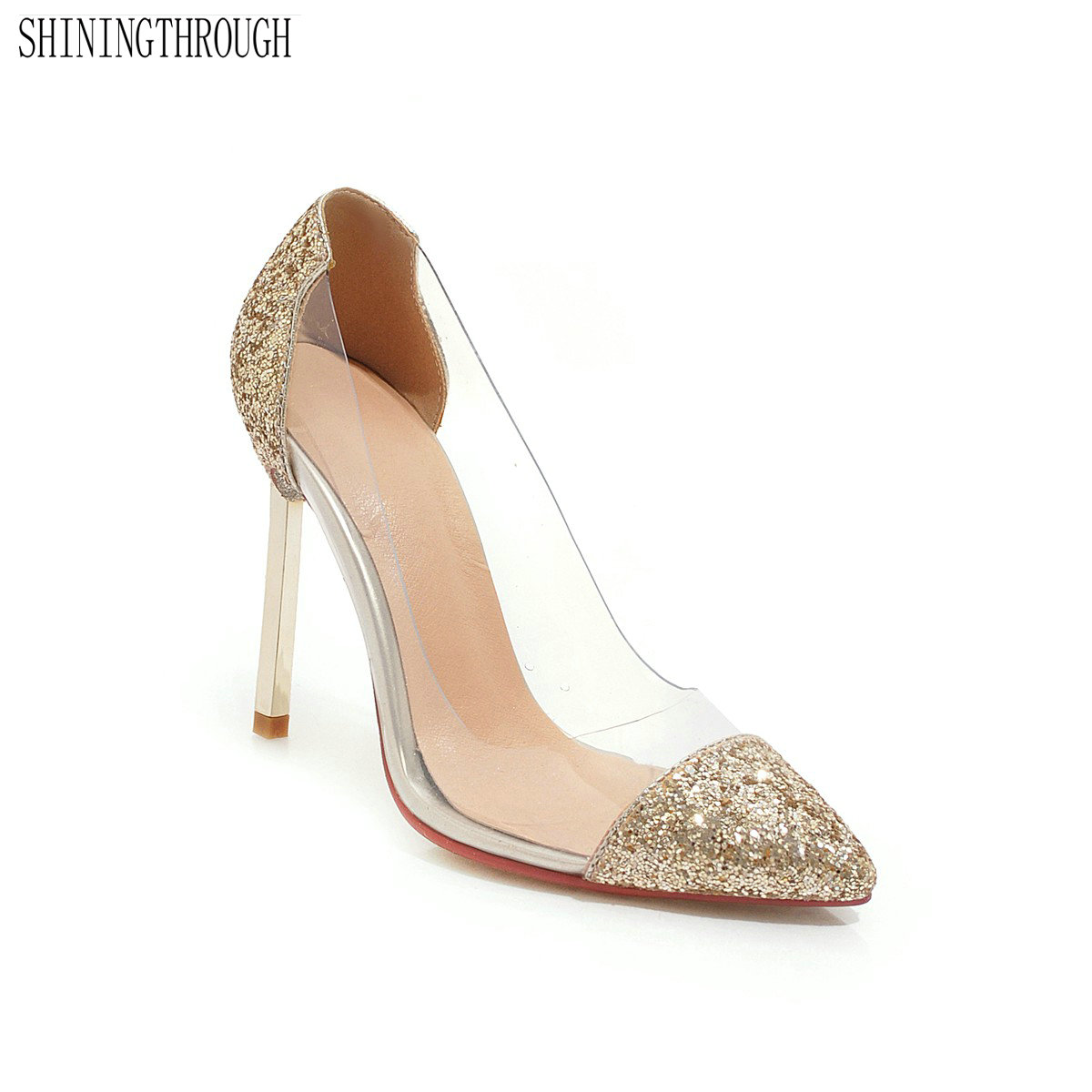 Transparent women pumps super high heels club party dancing shoes woman shiny bling ladies wedding large size 43-in Women's Pumps from Shoes    1