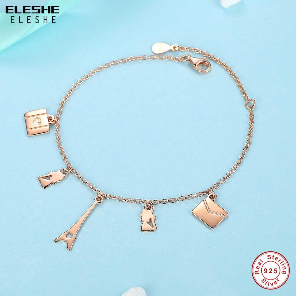 ELESHE różowe złoto kolor paryż wieża eiffla projekt regulowany Link Chain 925 bransoletki ze srebra wysokiej próby dla kobiet prezent na Boże Narodzenie