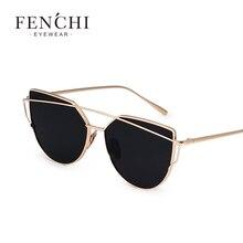 FENCHI Vintage Cat Eye Sunglasses Women Brand Designer Twin-