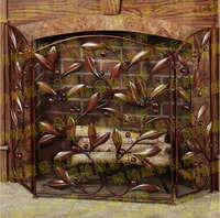 Wrought Iron Floor Mantel Fire Fireplace Surround Furnace Flameproof Enclosure Fire Screen