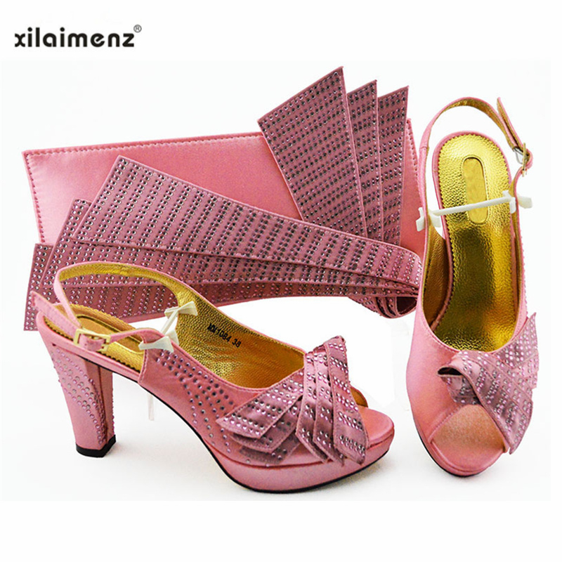 2019 New Design Handmade Pink Color Rhinestones Nigerian Shoes With Matching Bag Set Open Toe with