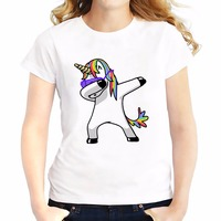 Dabbing Unicorn Funny T Shirts Women Summer New Casual Off White Tee Shirt Femme Cute Cartoon