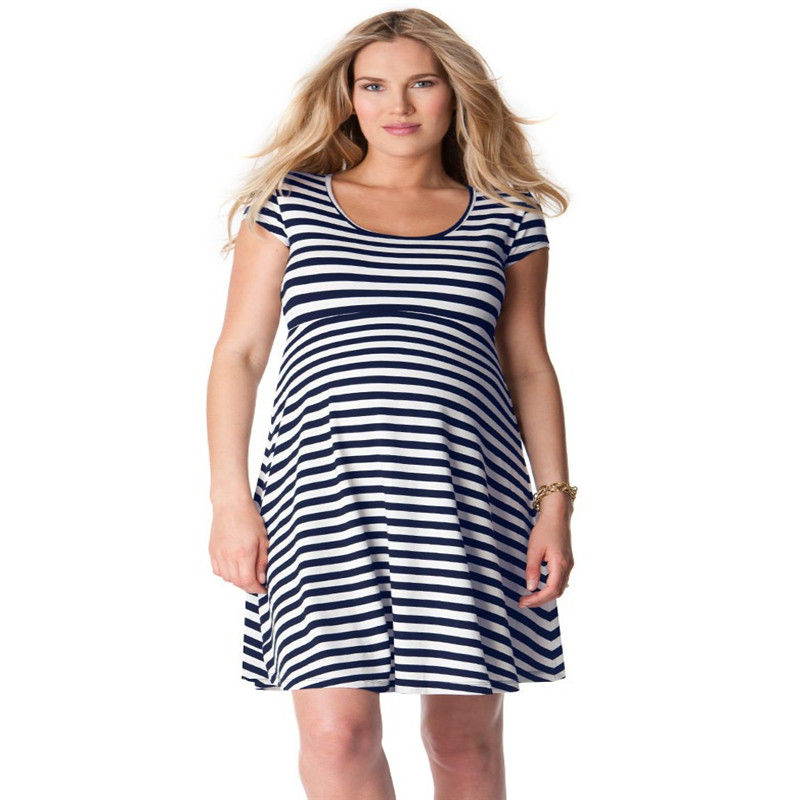 Maternity Women Dress Summer Short Sleeve O-neck Knee Length Striped Dress New Moms Fashion Western Style Casual Loose Fit DressMaternity Women Dress Summer Short Sleeve O-neck Knee Length Striped Dress New Moms Fashion Western Style Casual Loose Fit Dress