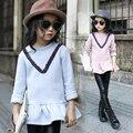 3-14 T Roupas de Inverno 2016 Crianças Camisolas Para Meninas Do Bebê Roupa Dos Miúdos Tops Azul Rosa Cores Manga Longa Pullover Pokemon