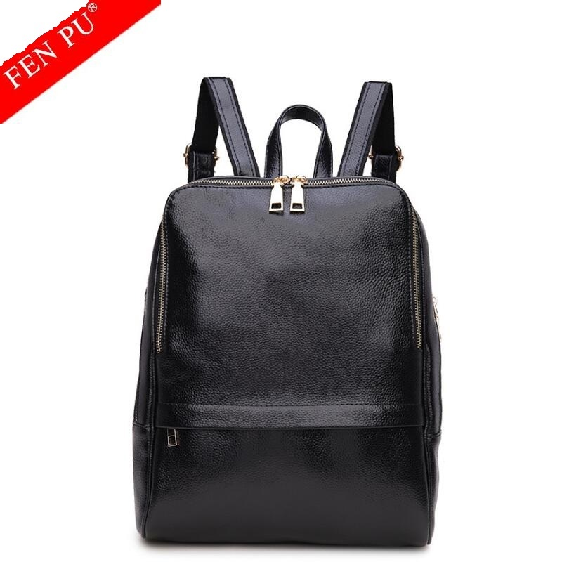 2017 Fashion Genuine Leather Backpack Women Cowhide Preppy Style Backpack Girls School Bag Zipper Kanken Female Leather Backpack