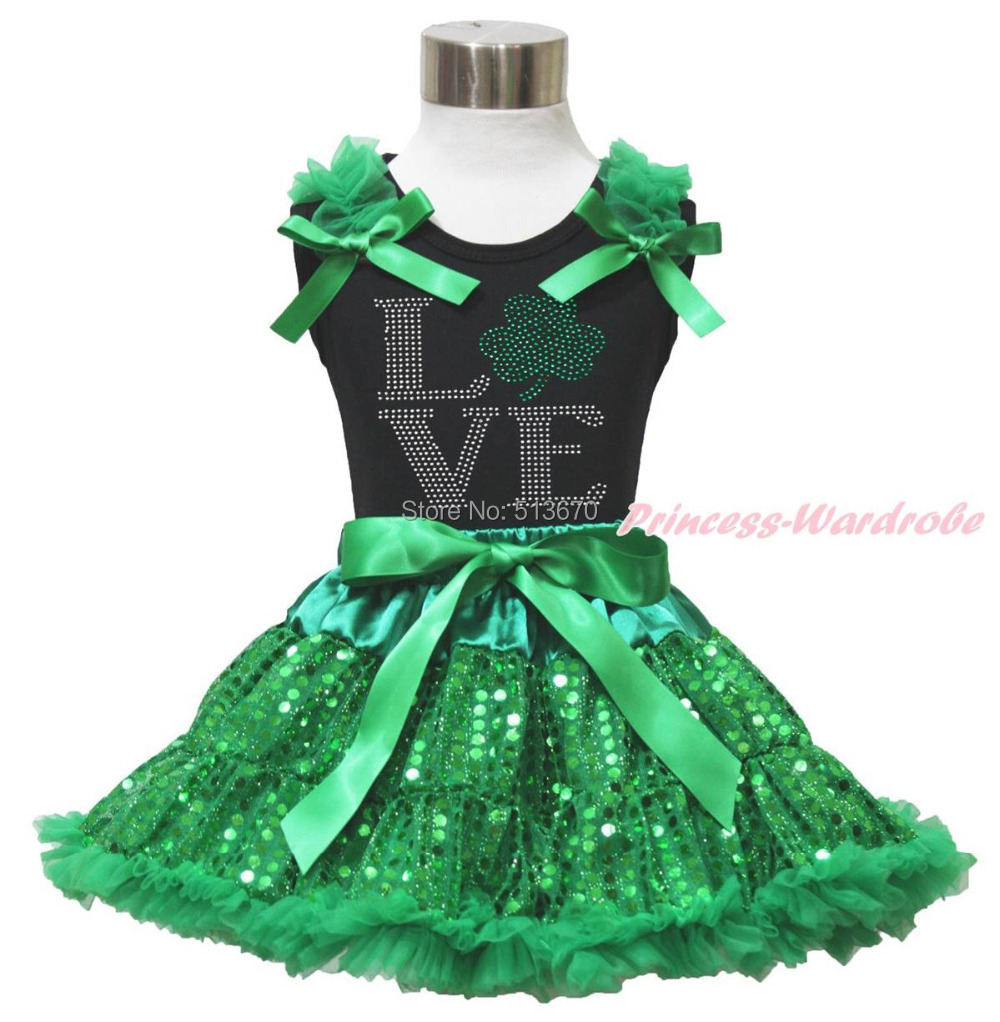 St Patrick's Day Rhinestone Love Clover Black Top Bling Green Sequins Skirt 1-8Y MAPSA0437 colibri