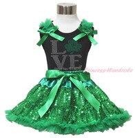 St patrick dag strass liefde clover black top bling green pailletten rok 1-8Y MAPSA0437