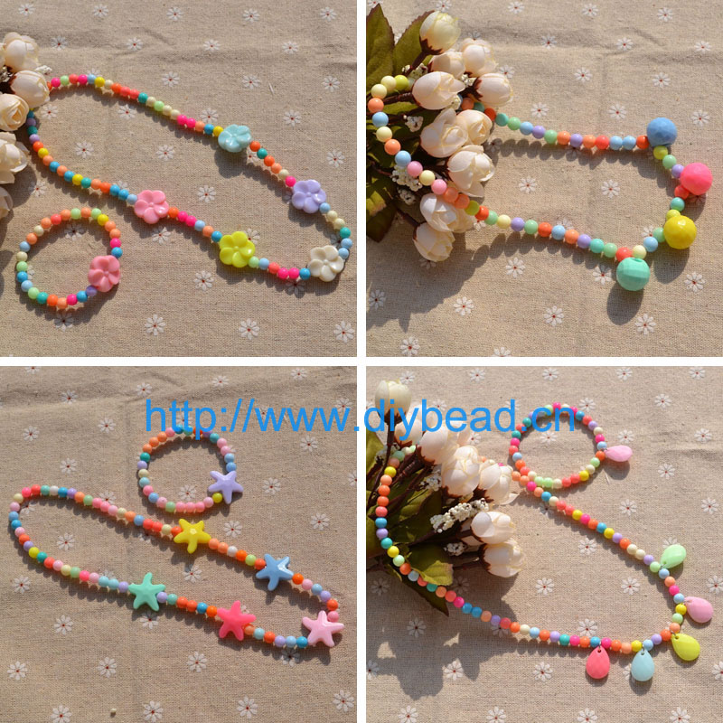 Children Jewelry Set Colorful Acrylic Beads Kids Princess Necklace Bracelet Handmade Girl Party Jewelry Gifts