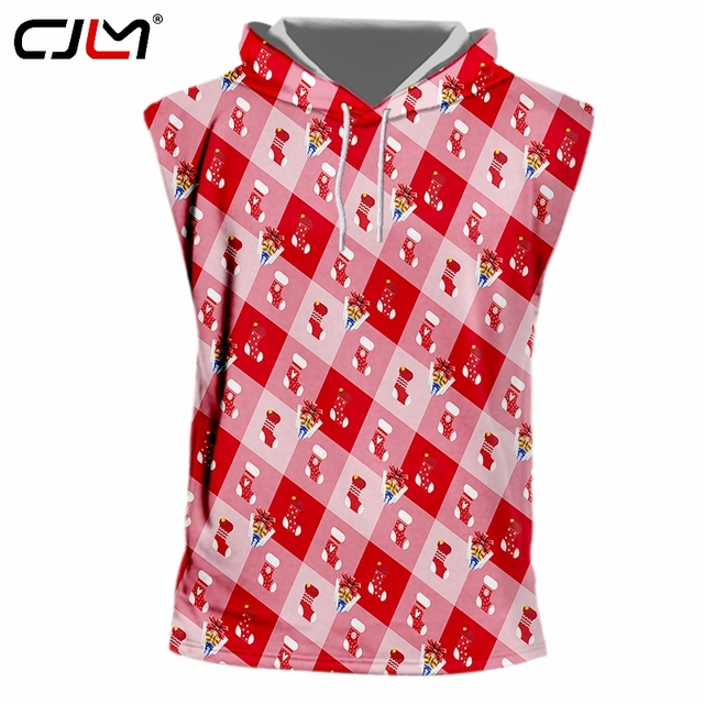1d9215a358660 CJLM New Recommend 3D Printed Men s Christmas Hooded Tank Top Stockings And  Gift Boxes Lovers TankTop Oversizend 5XL