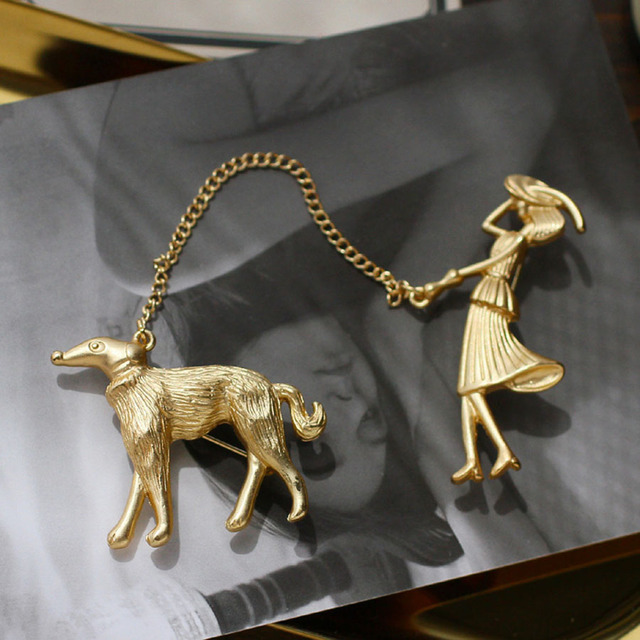 US $4 79 20% OFF|2018 Fashion Jewelry Gold Chain Enamel Brooch Dogs Girls  Lapel Pin Men Brooch Metal Broches Vintage Animal Brooches For Women-in