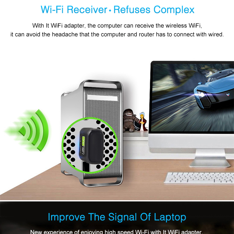 USB WiFi Adapter Network Card USB Ethernet 600Mbps 5Ghz Wi-Fi Adapter WiFi  Receiver PC Antenna WiFi Dongle USB Wi Fi Adapter