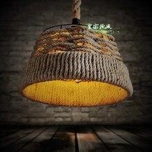 37 — 30 см американский кантри искусство веревки люстра северный ресторан ретро-кафе освещение гостиной лампа