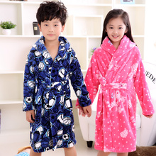 new fashion children bathrobes 6-12years girls and boys fashion warm bathrobes children cute athrobes carol fleece winter robes
