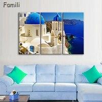 Home Decoration 3 Pieces No Frame Picture Decoration Canvas Prints Santorini Island Scenery Farm Highway Grassland