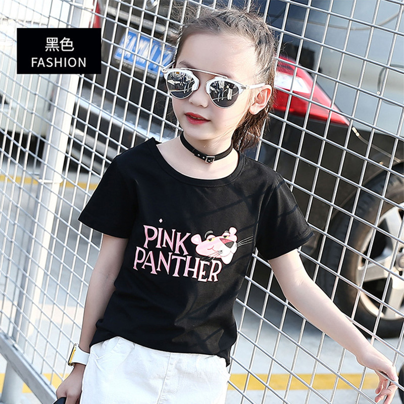 Fashion 3-10Y Kids Tops Tees The Pink Panther Cotton Summer Short Sleeve T-shirts For Girls Children